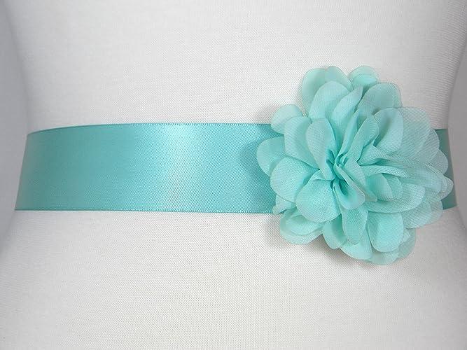Amazon.com: Aqua Bridal Sash, Wedding Belt, Bridal Belt, Flower Girl ...
