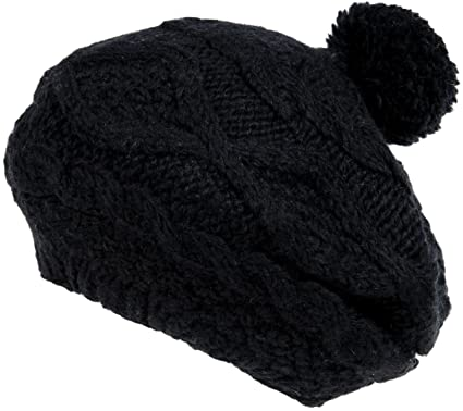 Amazon.com  Nirvanna Designs CH701 Wide Cable Beret with Fleece and ... fbfe54d8ef1