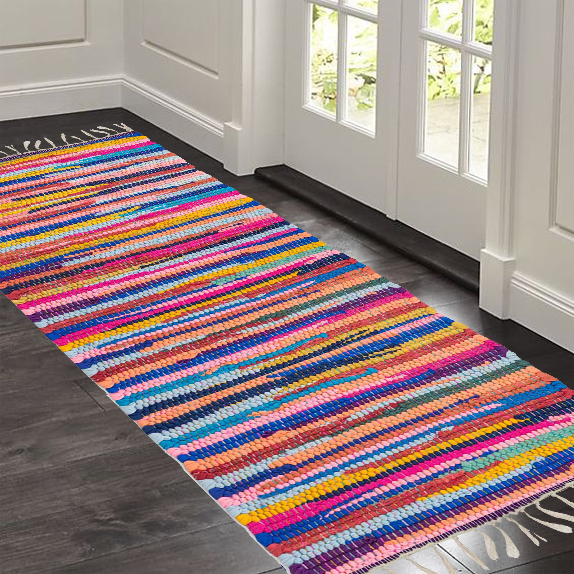 Hand Woven Multi Chindi Rug for Kitchen-Livingroom-Bedroom - 2 X 5 Feet
