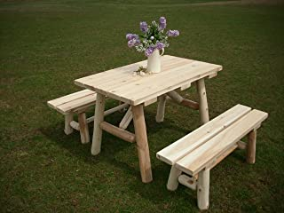 product image for White Cedar Log Picnic Table with Detached Bench - 4 Foot
