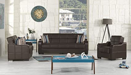 UPTOWN Functional Futon Living Room Set (Brown Leather)