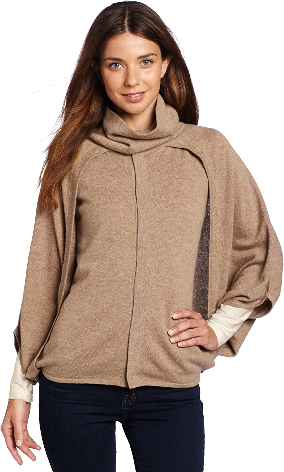 Evolution by Cyrus Women's 100% Cashmere Turtleneck Cape