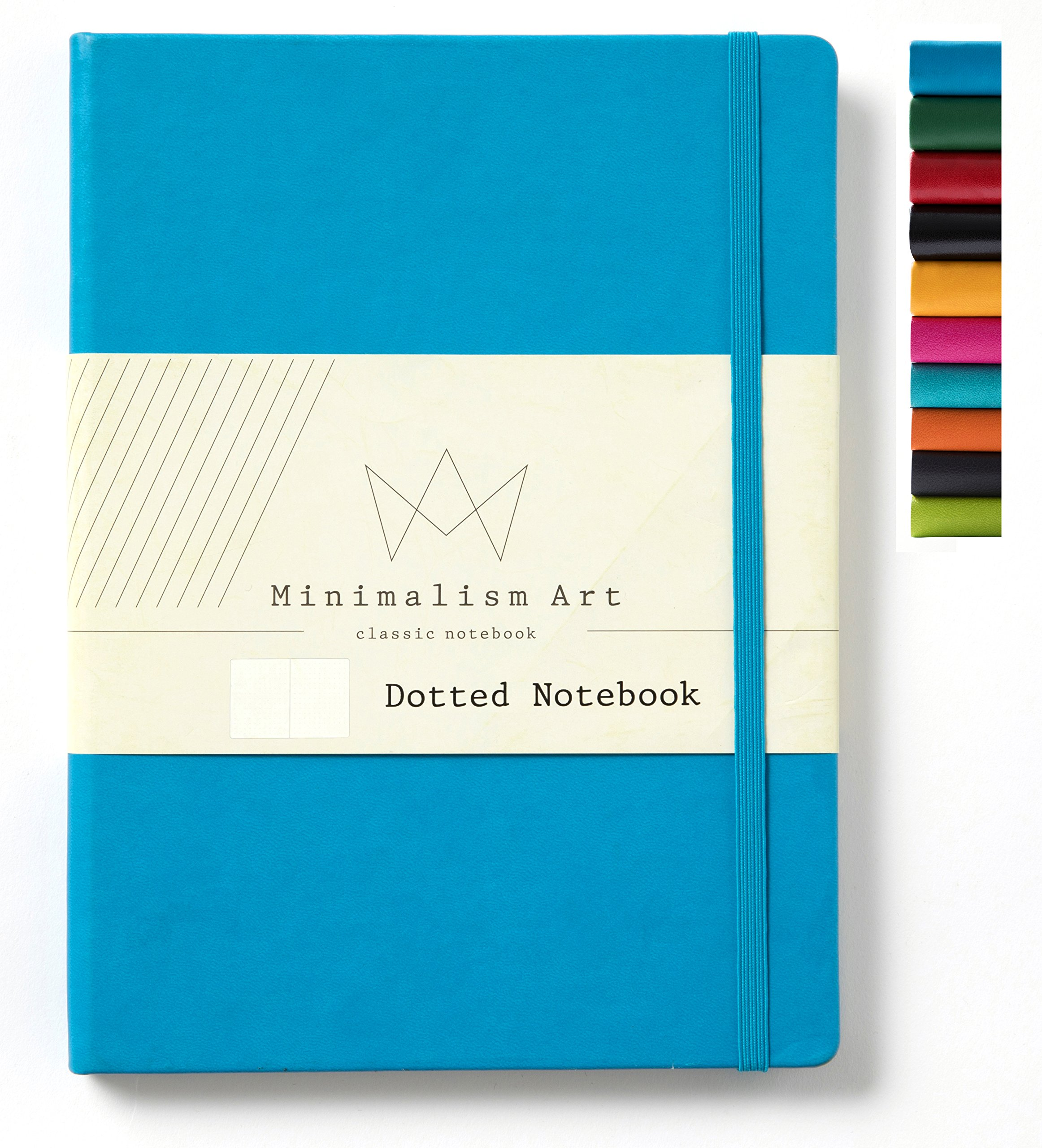 Minimalism Art | Classic Notebook Journal, Size:5.8''X8.3'', A5, Blue, Dotted Grid Page, 240 Pages, Hard Cover/Fine PU Leather, Inner Pocket, Quality Paper - 80gsm | Designed in San Francisco