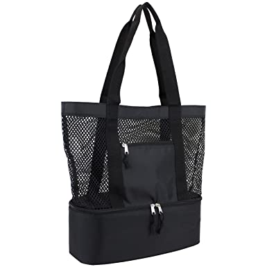 Amazon.com | Eastsport Mesh Tote Insulated Cooler Beach Bag, Black ...