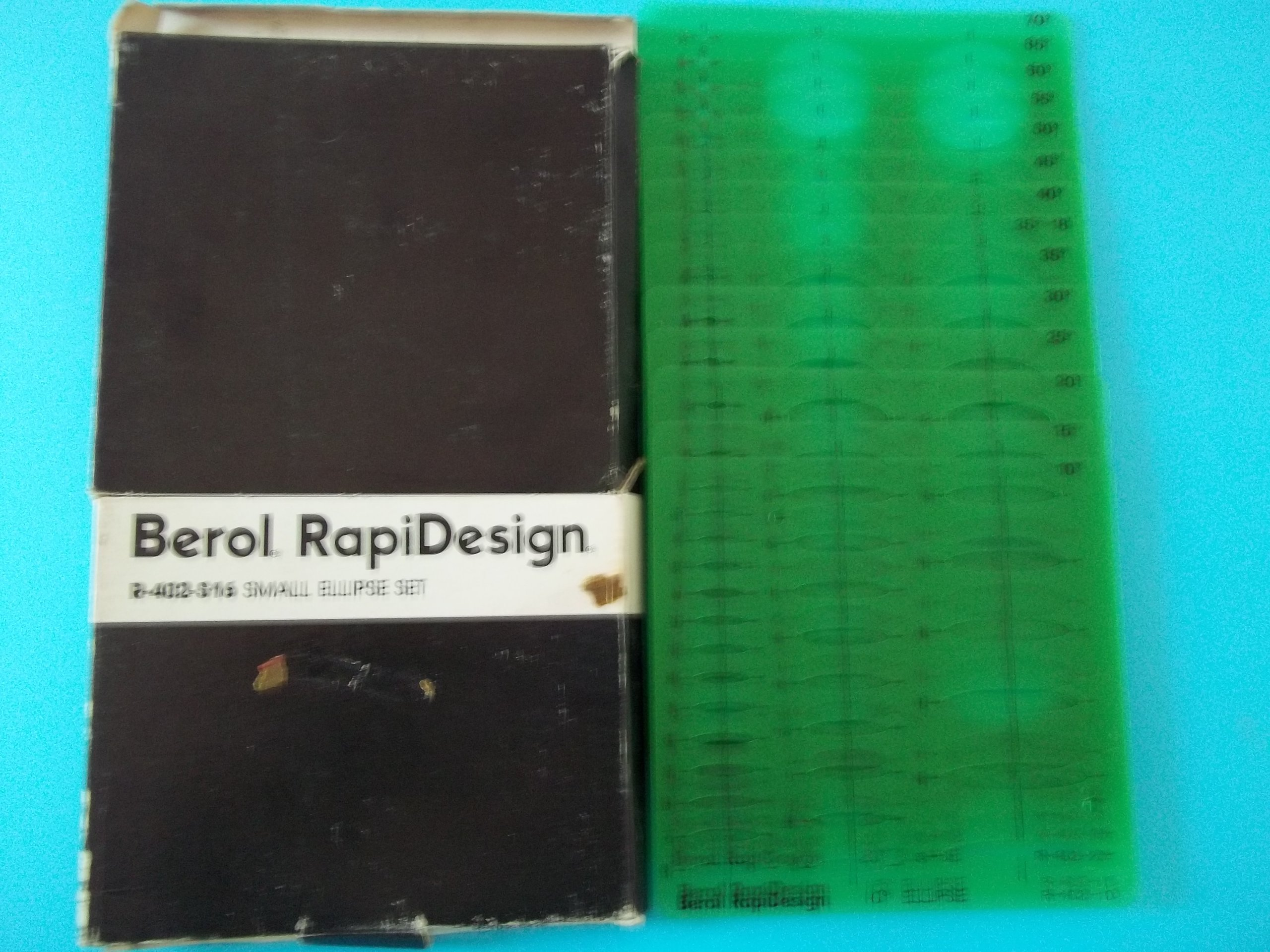 Berol Rapidesign R-402-S16 Ellipses 16 Templates 10 Degrees thru 80 Degrees Hot-Stamped Centering Lines Made in USA