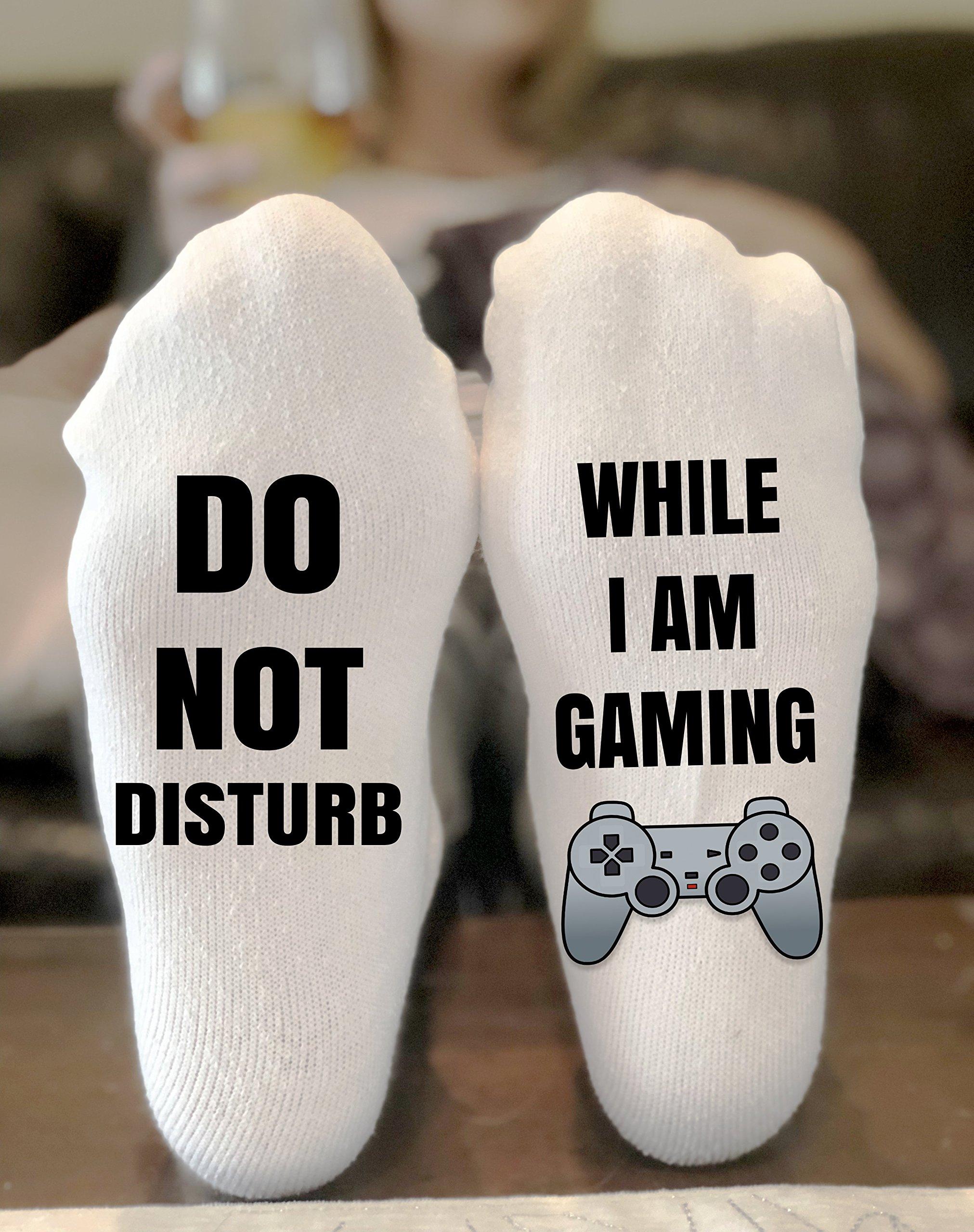 Do Not Disturb While I Am Gaming Novelty Funky Crew Socks Men Women Christmas Gifts Cotton Slipper Socks