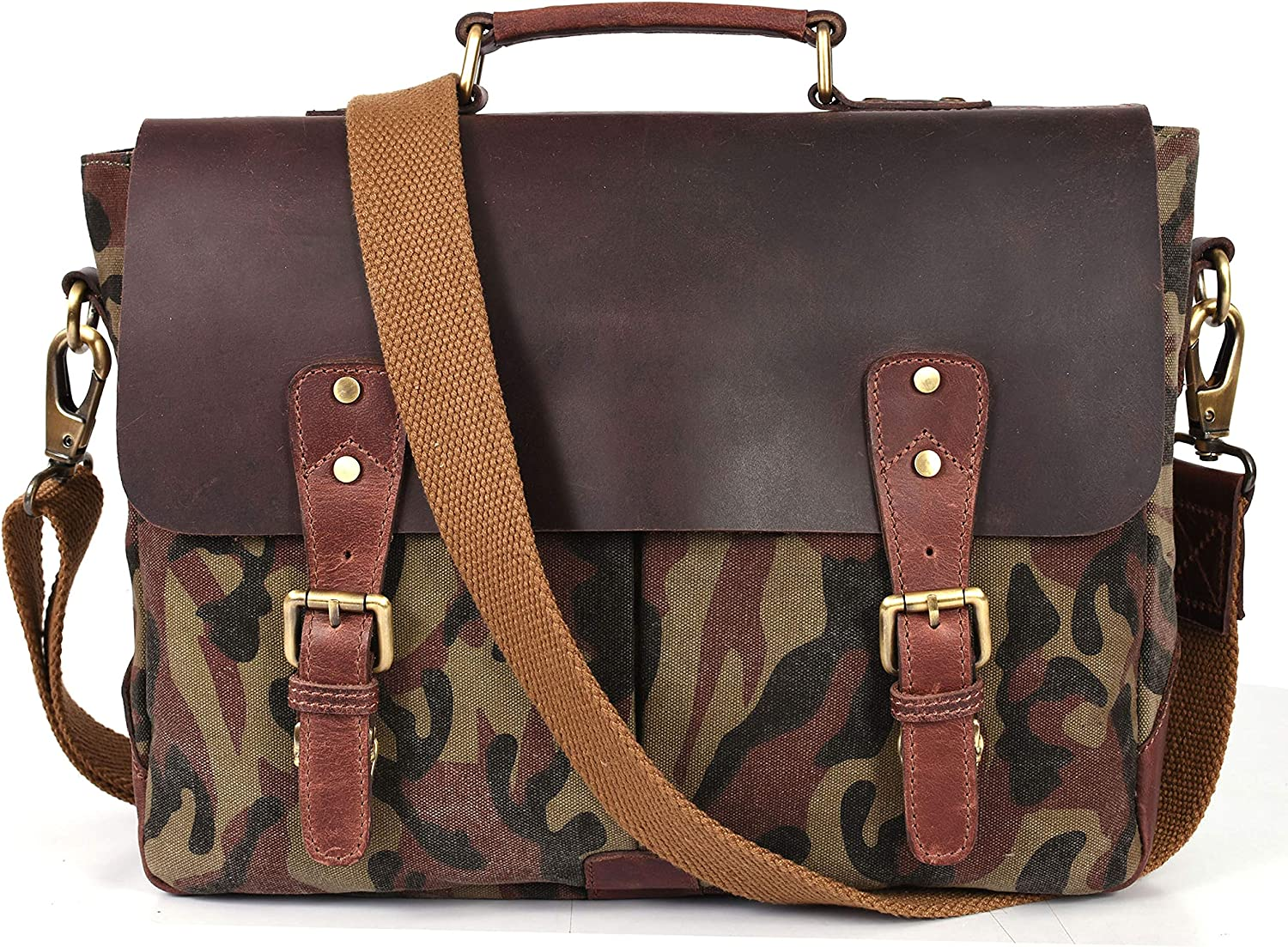 Aaron Reserve Laptop Messenger bag for Mens Leather Briefcase Business Satche Bag Camo Canvas