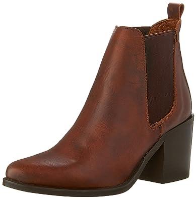 d09ea7e7825c Steve Madden Womens Pistol Leather Almond Toe Ankle Boots Brown 8 Medium  (B,M