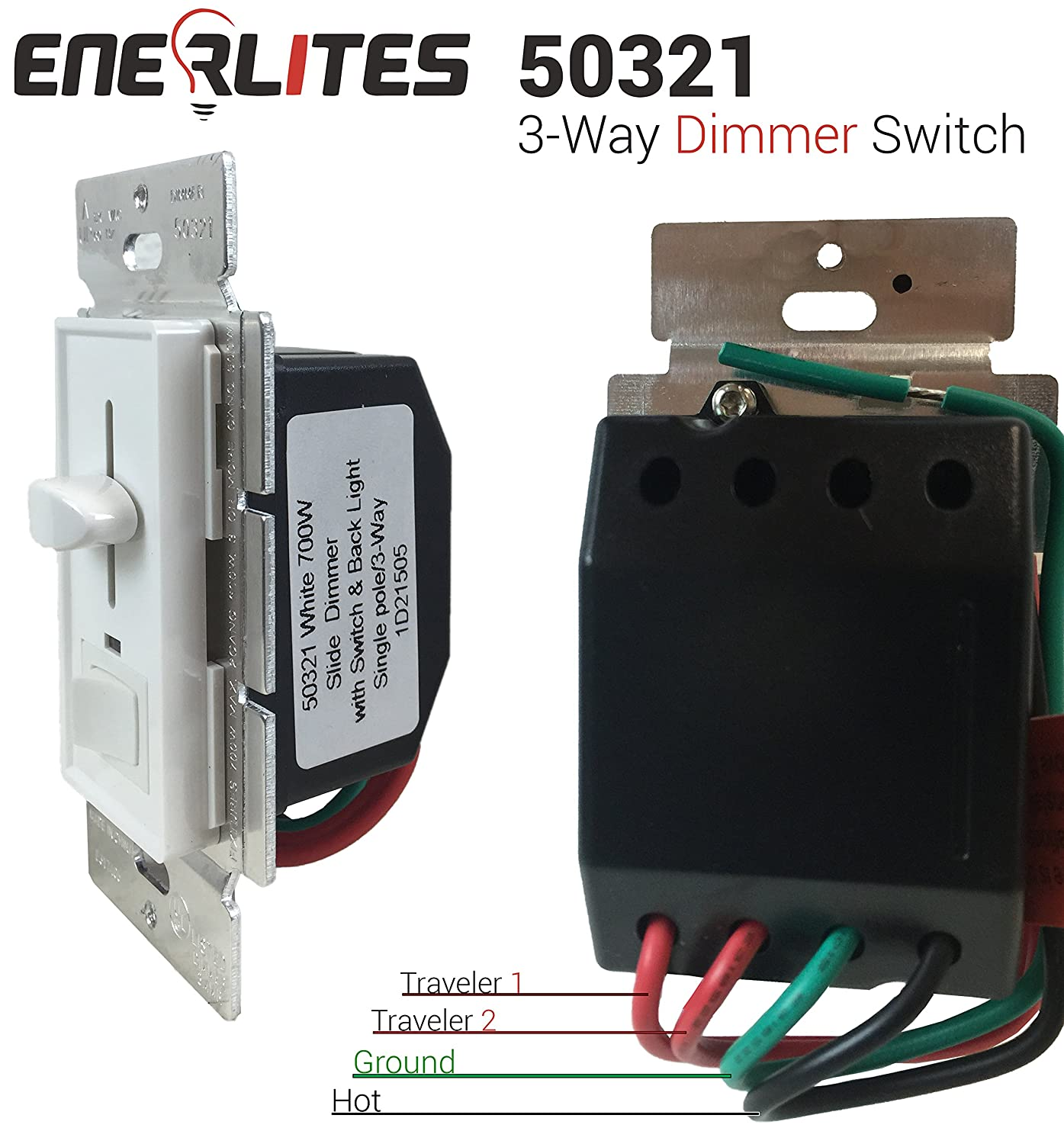 Enerlites 50321 Slide Dimmer For Incandescent Three Way 700w W Wiring A 3 Switch Single Pole Led Indicator Almond