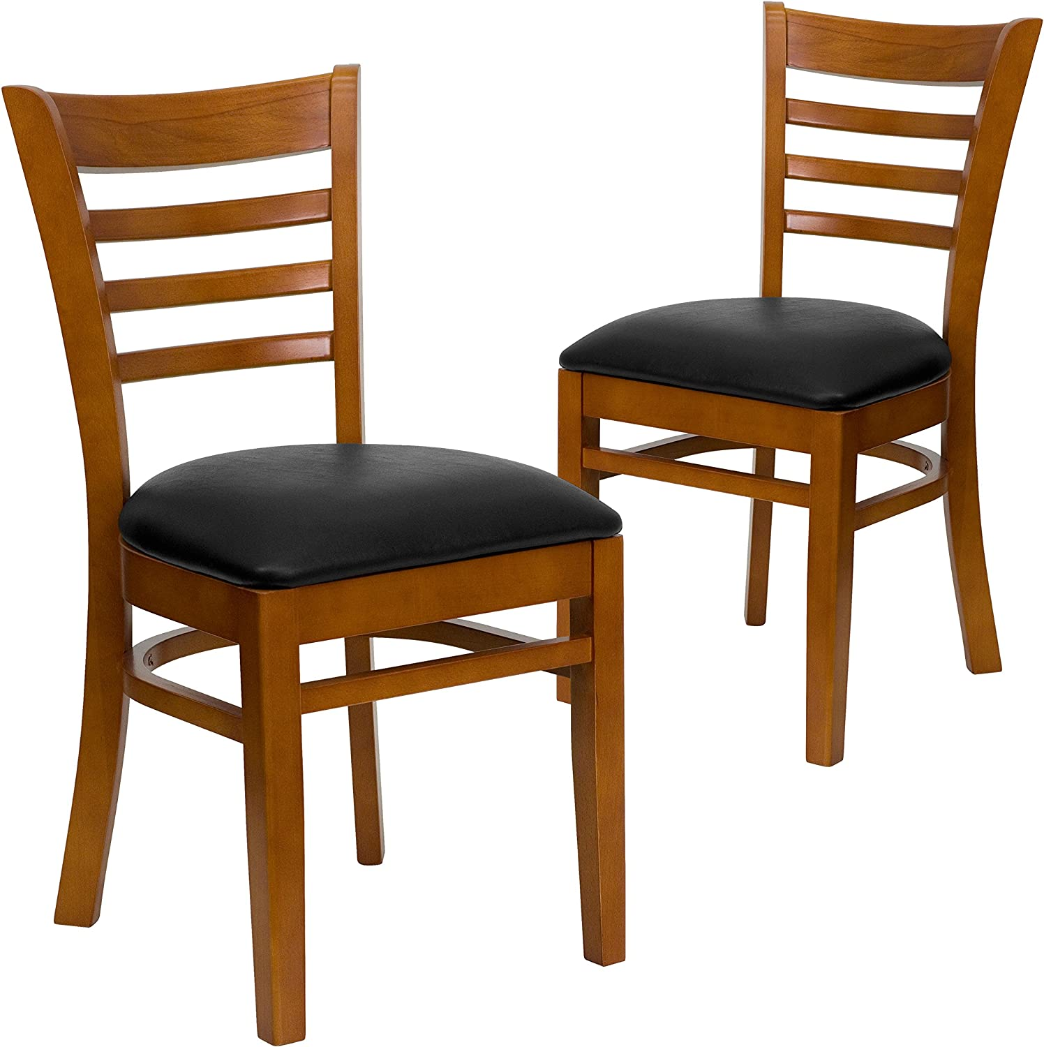 Flash Furniture 2 Pk. HERCULES Series Ladder Back Cherry Wood Restaurant Chair - Black Vinyl Seat