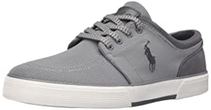 Polo Ralph Lauren Men's Faxon Low Mesh Fashion Sneaker, Grey, 11 D US