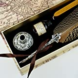 GC Quill Pen Beautiful Nuture Feather Metal Carving Pen Holder 6 Nibs Gift Set GCLL021