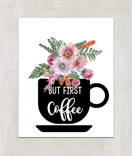 But First Coffee Kitchen Print Baker Gift Prints Illustrations Modern Wall Art