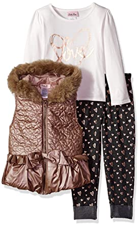 9139e441821d Amazon.com: Little Lass Girls' 3 Pc Metallic Puffer Vest Set: Clothing