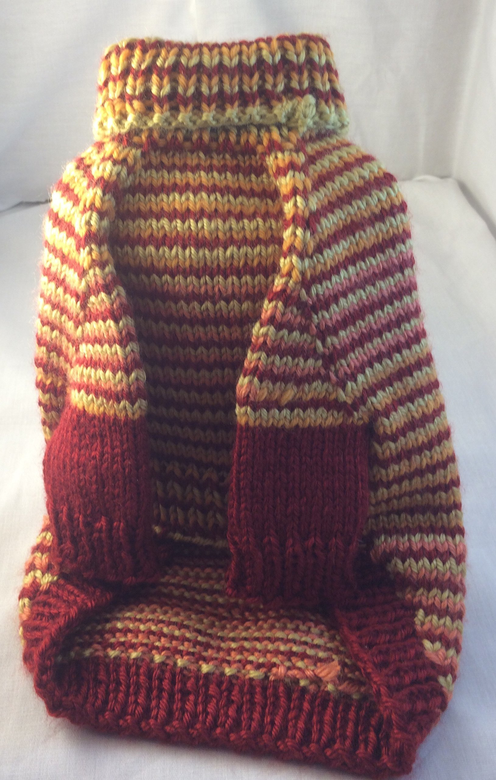 Hand knit turtleneck, long sleeve pet sweater.