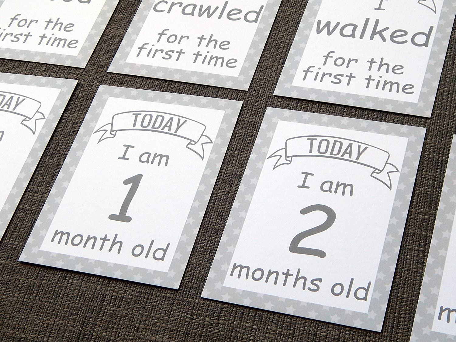 Babys 1st Year Mile Stone Journey Picture Card Props Baby Milestone Cards Gift Set Newborn Child Christening Baby Shower Gift Yellow /& Grey