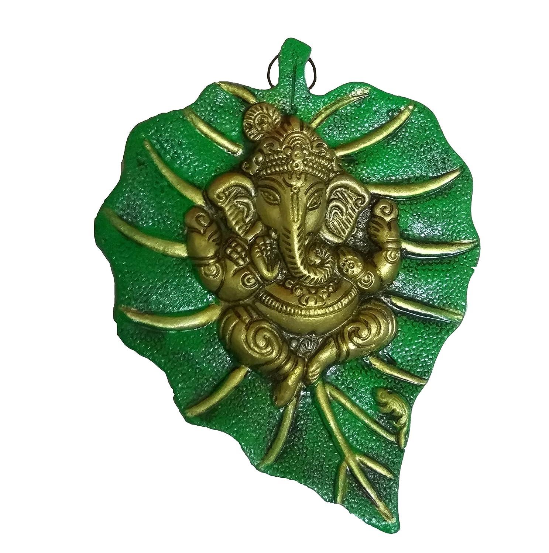 buy handcrafted ganesh on leaf gold colour ganesh on green leaf buy handcrafted ganesh on leaf gold colour ganesh on green leaf lord ganesha idol bhagwan ganpati handicraft decorative spiritual puja vastu showpiece