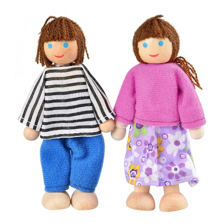 Pagacat Biegepuppen 7-köpfige Puppenfamilien Puppenhaus für Kinder Spiel Haus Geschenk Holz