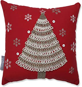 """Pillow Perfect Country Home Tree Decorative Pillow, 12"""", Red/Tan/White"""