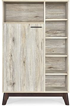 Amazon Com Christopher Knight Home Rattler Mid Century Modern Multi Functional Cabinet Sanremo Oak Walnut Furniture Decor