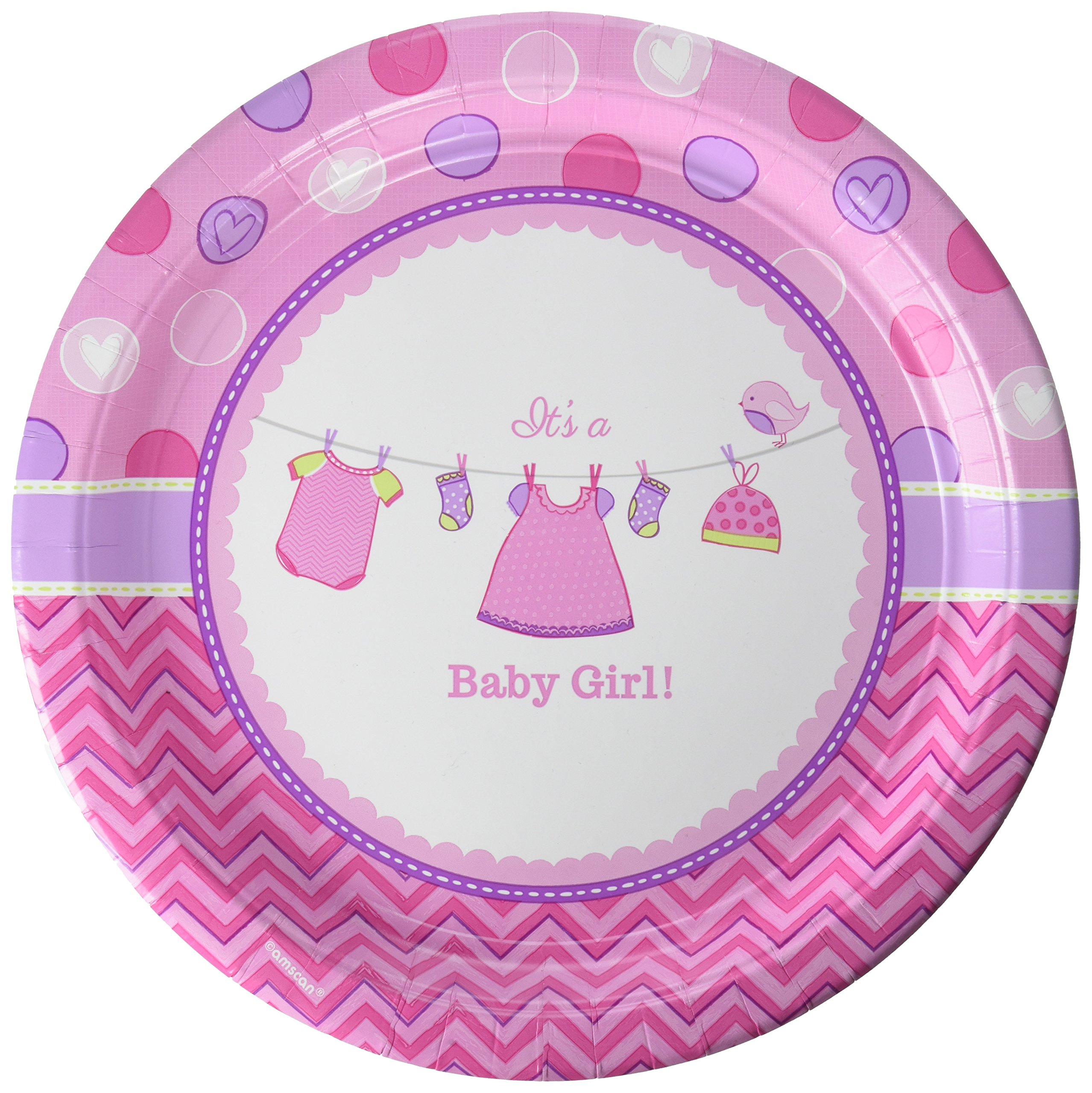 Amscan ''It's a Baby Girl Round Plates, 10.5'', 96 Ct.