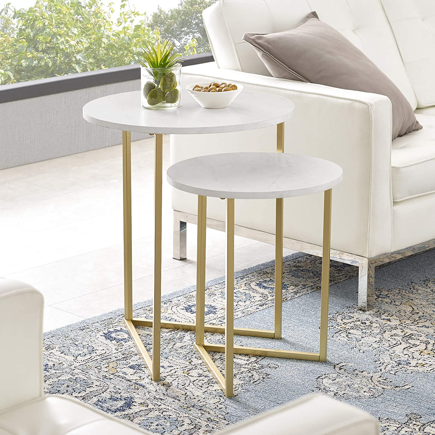 Walker Edison Furniture Company AZFVICNSTMW Modern Round Metal Base Nesting Set Side Accent Living Room Storage Small End Table, Set of 2, White Marble/Gold