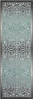 product image for Pelham Vintage Runner Rug Non Slip Hallway Entry Carpet [Made in USA], 2 x 6, Grey/Blue