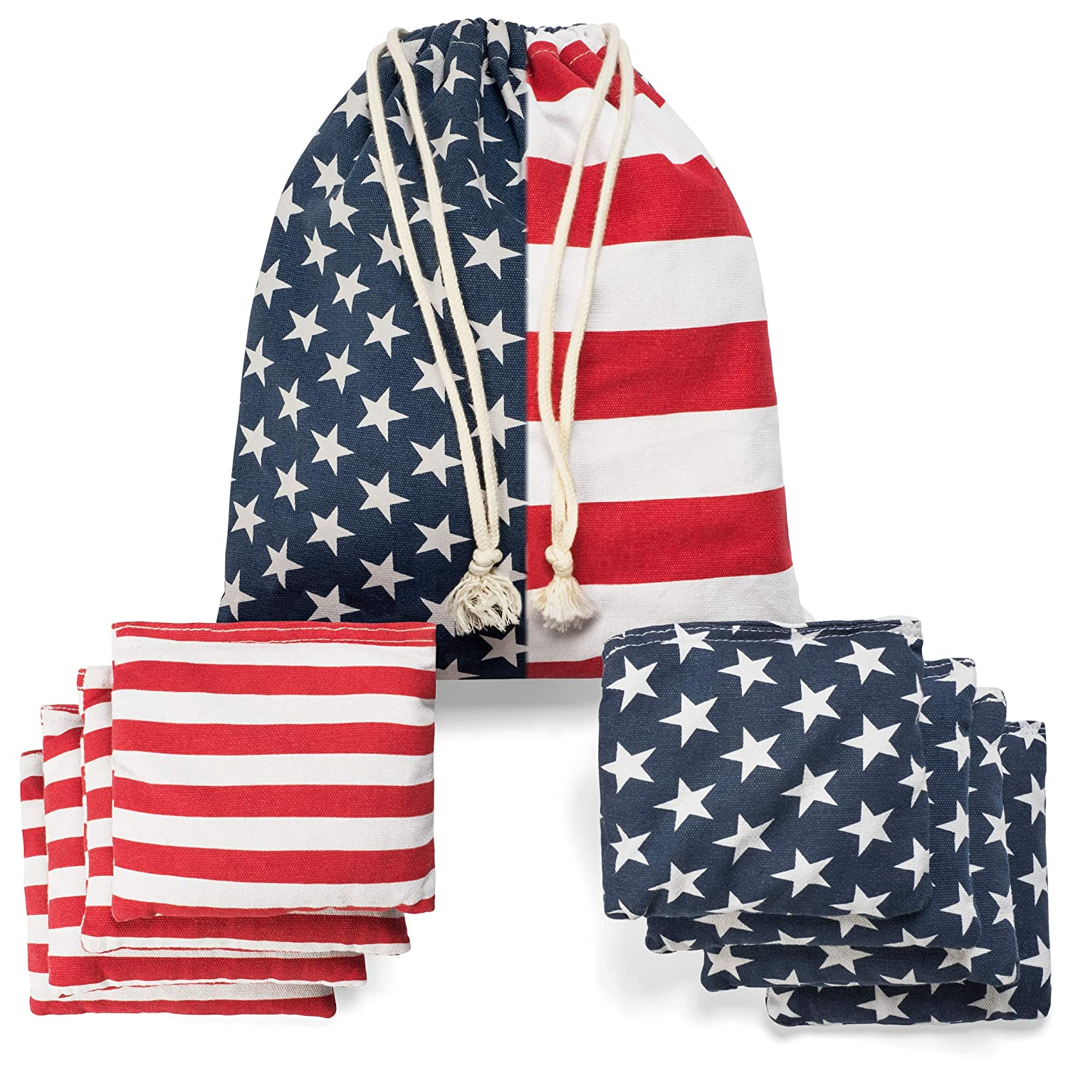 TOYSHARING Cornhole Bags Weather Resistant Cornhole Bean Bags Duckcloth Canvas Corn Filled Double Stitched American Flag Regulation Corn Hole Bean Bags with Portable Tote Bag