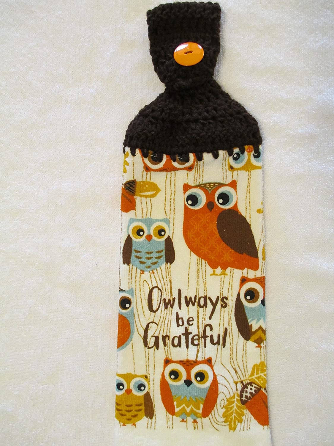 Amazon Com Crocheted Owlways Be Grateful Kitchen Towel With