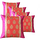 PINK PARROT Jacquard Cushion Covers (Multicolour, 16X16 Inches) - Set of 5