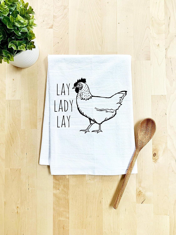 Funny Dish Towel, Lay Lady Lay Flour Sack Kitchen Towel, Sweet Housewarming Gift, Farmhouse Kitchen Decor, White