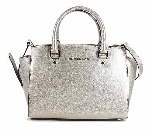 michael kors selma medium top zip satchel pale gold purse carryall rh amazon com