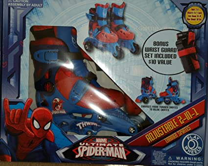 Amazon.com  Spider-Man Adjustable Trainer 3-Wheel to Inline Skates ... 4751f35c29f6