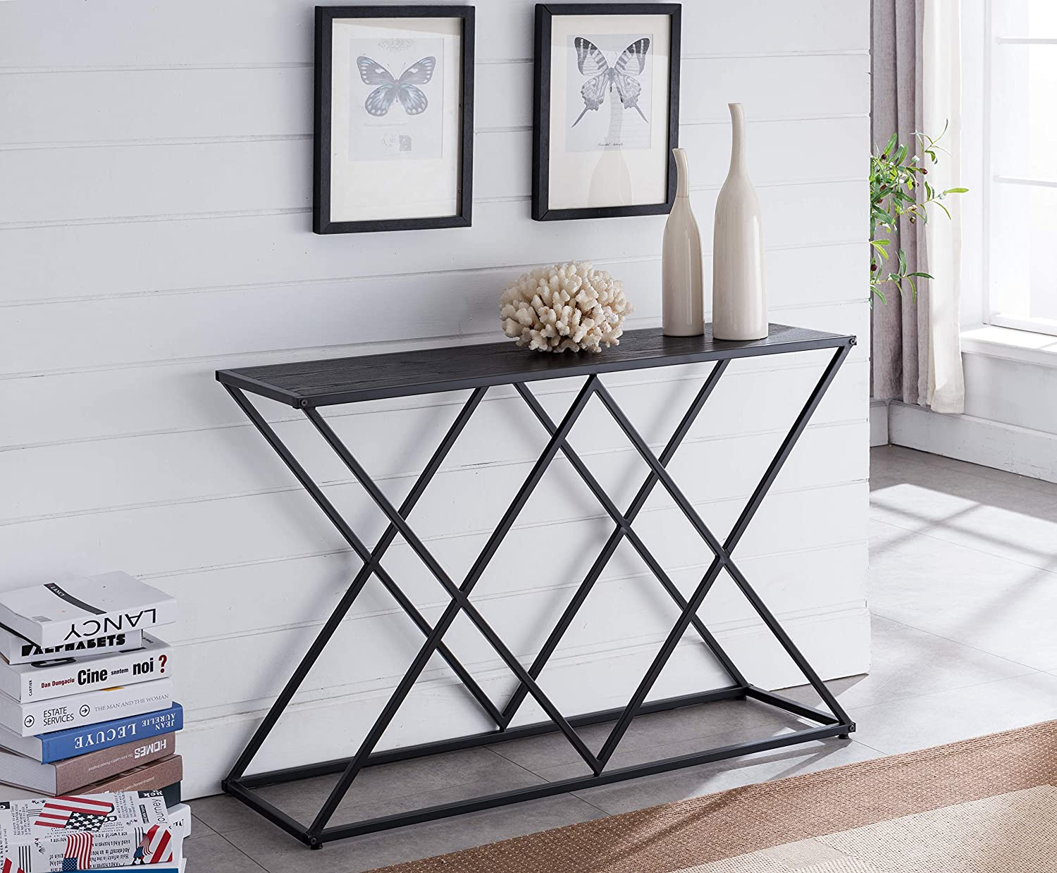 Kings Brand Furniture – Calvert Modern Sofa/Entryway Console Table, Black