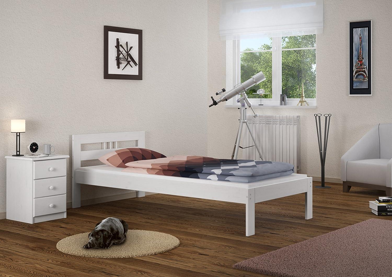 Erst-Holz® Jugendbett Einzelbett 80x200 Massivholzbett Kiefer weiß Futonbett Rollrost Gästebett 60.64-08 W