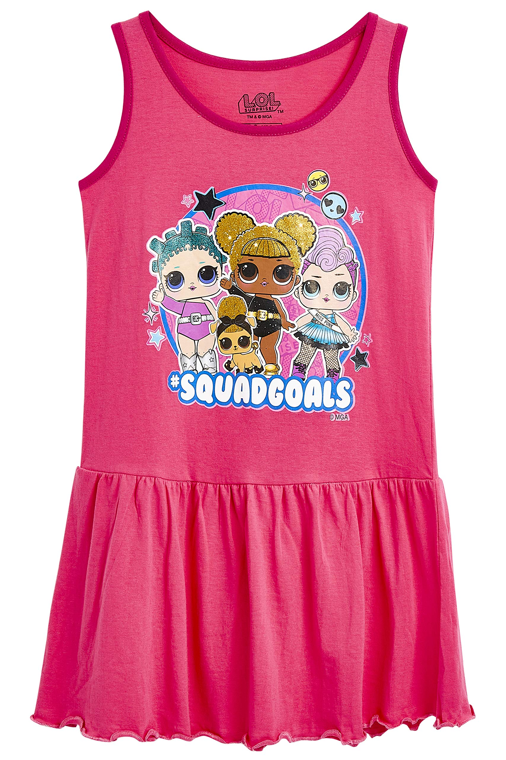 L.O.L. Surprise ! LOL Dolls Dress for Girls | Sleeveless Pink Girls Dress | 100% Cotton Confetti Pop Toddler Children Summer Clothes | Gift for 4 5 6 7 8 9 10 11 12 Year Old Girl