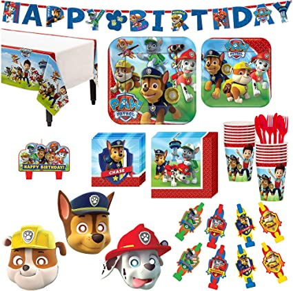 Paw Patrol Birthday Party Kit Includes Happy Banner Candles And Eye Masks