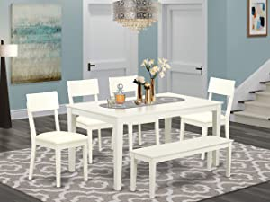 East West Furniture Set 6 Pc-PU Leather Dining Room Chairs Seat-Linen White Finish Wood Table and Bench, 6 Pieces