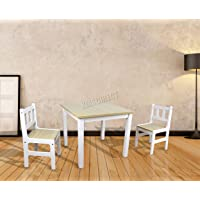 FoxHunter Children's Table & Chair Set | 2 Chairs Included | Kids Dining Table And Chair Child Bedroom Furniture Set | Painting Drawring Wooden Table | Toddler Study Area - KTS01