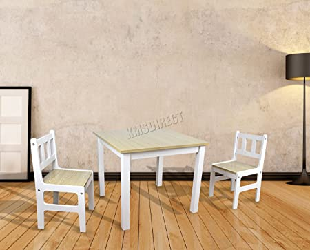 FoxHunter Kids Table With 2 Chairs Children Toddler Toy Study School Dining Room Playroom Indoor Furniture