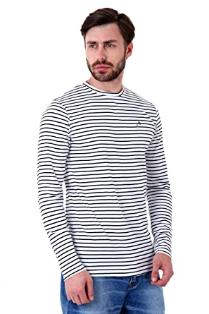 e1c6e6e84 Roman Island Men's White and Black Lines T-Shirt Full Sleeves: Amazon.in:  Clothing & Accessories