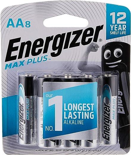 Energizer EP91BP8T Max Plus 1.5V Alkaline batteries For Power Demanding Devices AA, 8 Pieces - Black