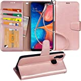 Arae Wallet Case for Samsung Galaxy A20 / A30 PU Leather flip case Cover [Stand Feature] with Wrist Strap and [4-Slots] ID&Cr