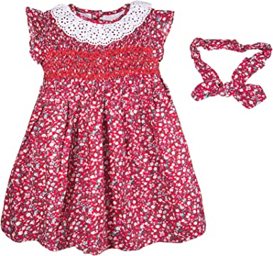 Baby Girls Floral Hand Smocked Casual Party Dresses Headband 2 pcs from 6 Months 5 Years