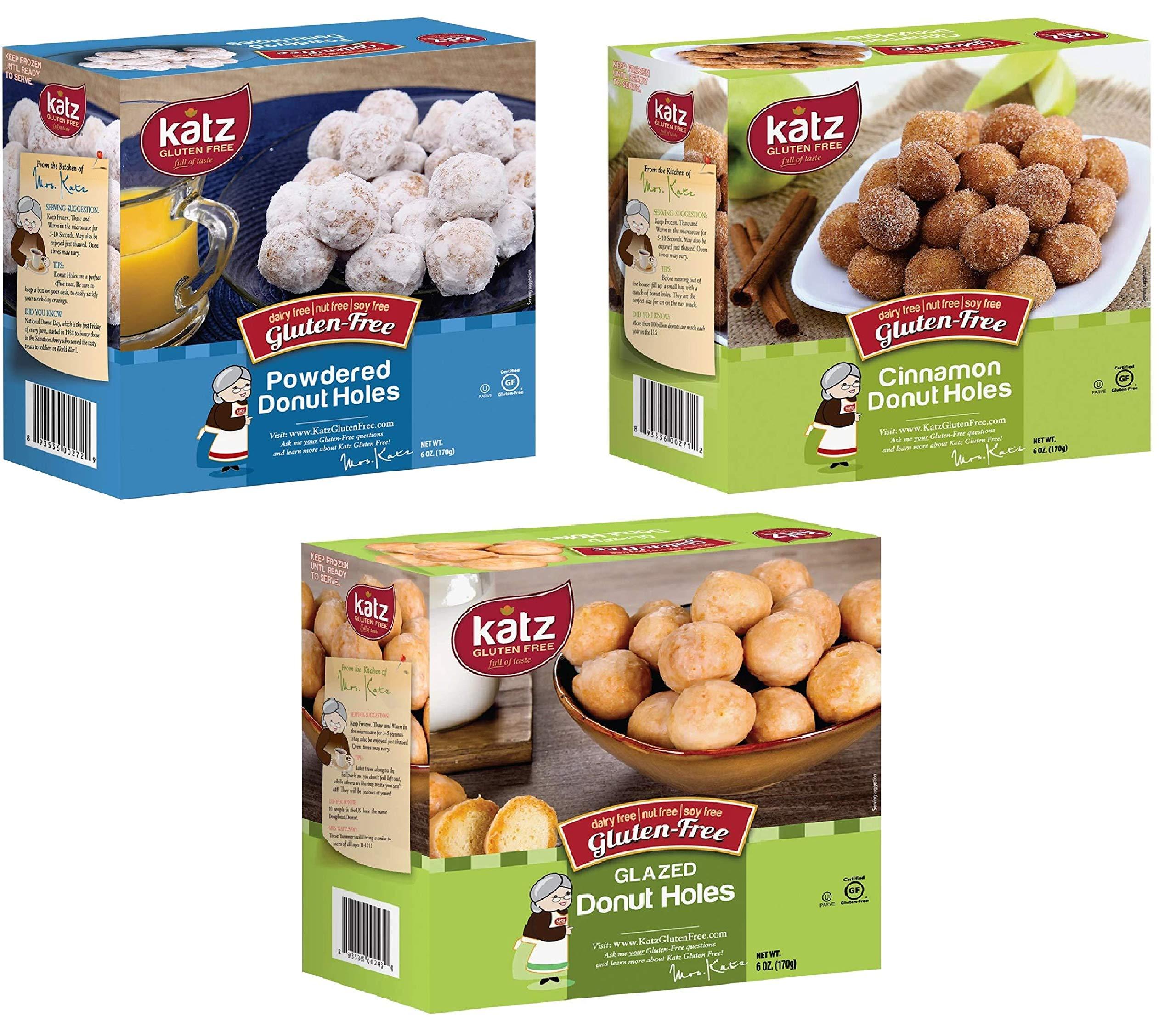 Katz Gluten Free Snacks Donut Holes Variety Pack | Gluten Free, Dairy Free, Soy Free, Nut Free | Powdered, Glazed, Cinnamon | Kosher (1 Pack of each, 3 Total) by Katz Gluten Free
