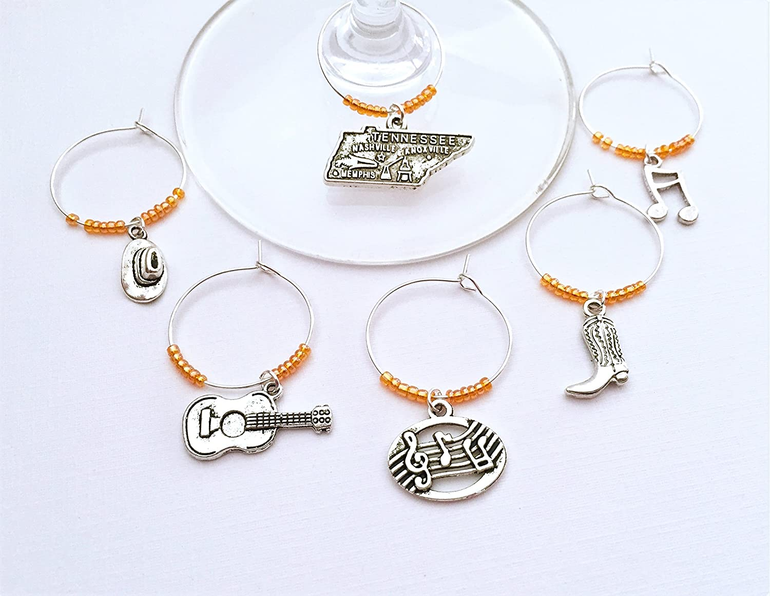 Nashville Tennessee Wine Charms. Inspired by Nashville Country Music. Set of 6. ORANGE BEADS.