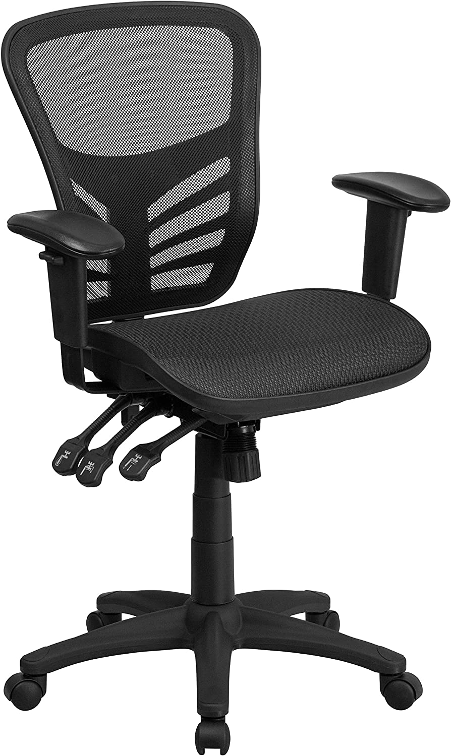 Flash Furniture Mid-Back Transparent Black Mesh Multifunction Executive Swivel Ergonomic Office Chair with Adjustable Arms