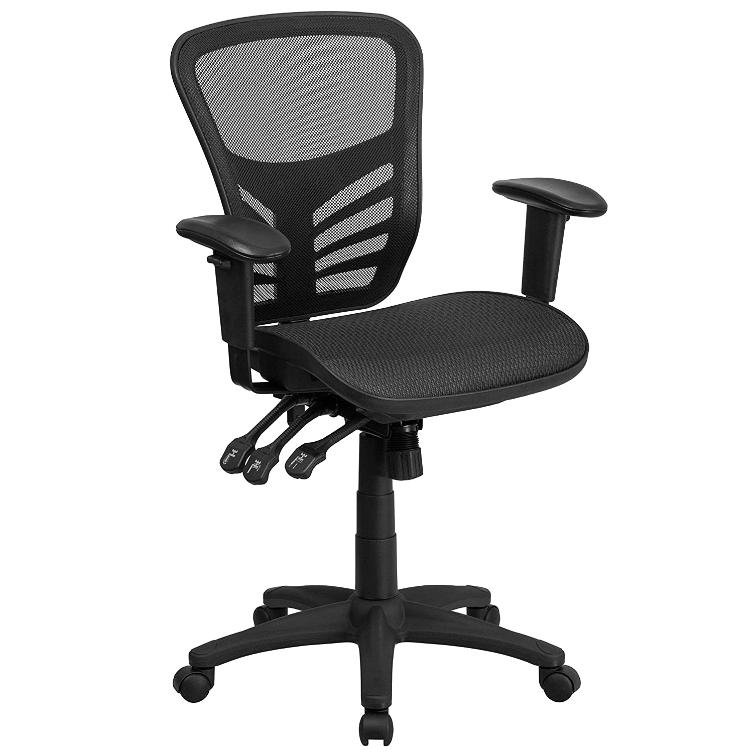 Flash Furniture HL-0001T-GG Multi Function Triple Paddle Control and Height Adjustable Arms Mid Back Mesh Executive Swivel Office Chair, Black