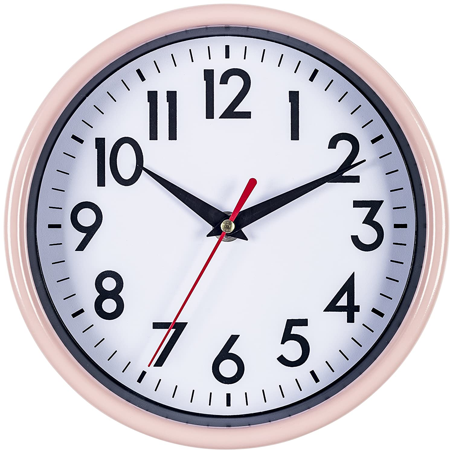 """Bernhard Products - Pink Wall Clock 8"""" Silent Non-Ticking Quality Quartz Battery Operated Clock for Girls/Kitchen/Classroom/Nursery Room Easy to Read (Pink)"""