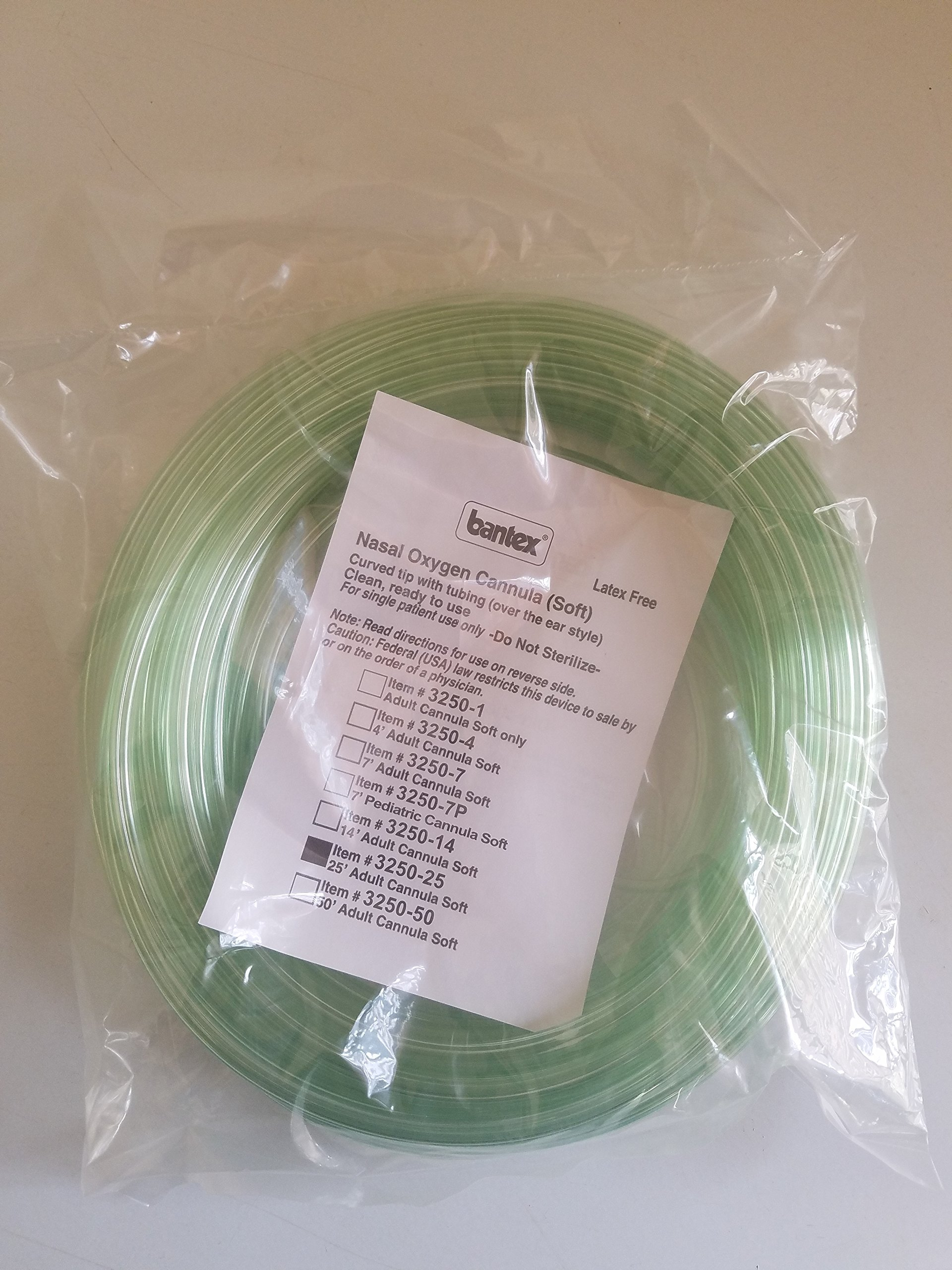 PRIME! Bantex 3250-25 25ft ADULT Soft Curved Tip Nasal Oxygen Cannula Tube Tubing